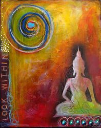 """Being still...so that I may hear...  Look Within - 16"""" x 20"""" abstract painting by Tara Catalano"""