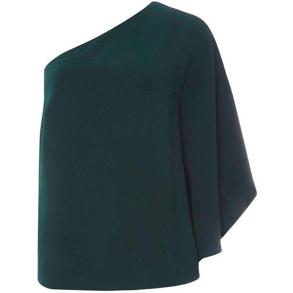 Dorothy Perkins Green One Shoulder Top ($44) ❤ liked on Polyvore featuring tops, green, one shoulder tops, dorothy perkins tops, blue green tops, green top and blue one shoulder top