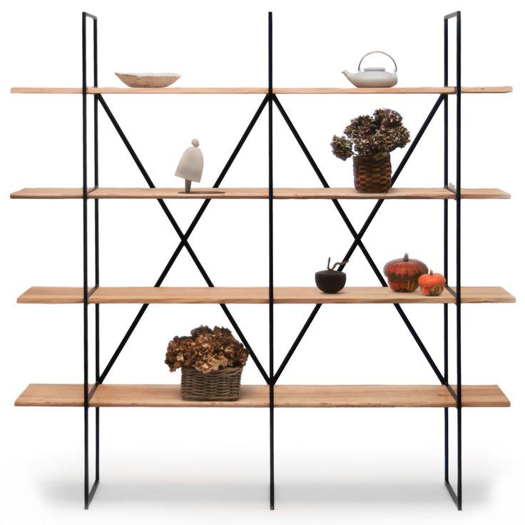Versandkostenfrei bestellen: urbanes, schlankes Bücherregal. Massivholz-Böden (Pappel), filigranes Vierkant-Stahlrohrgestell. Design by Maurizio Peregalli