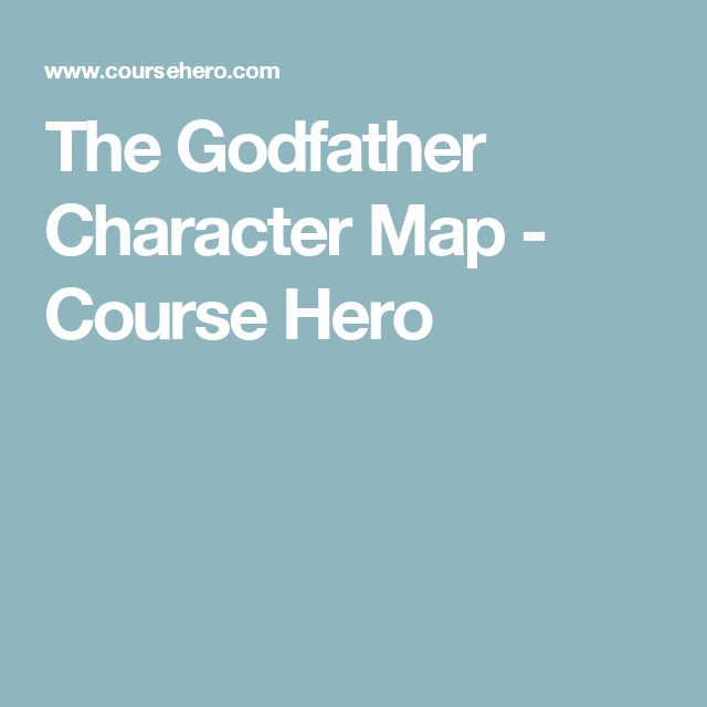 The Godfather Character Map - Course Hero