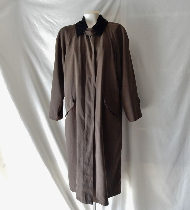 Sz 10 10P Anne Klein II Raincoat - Button Out Lining - Brown - Winter Trench Coat - Size L Large by CocoRoseVintage on Etsy