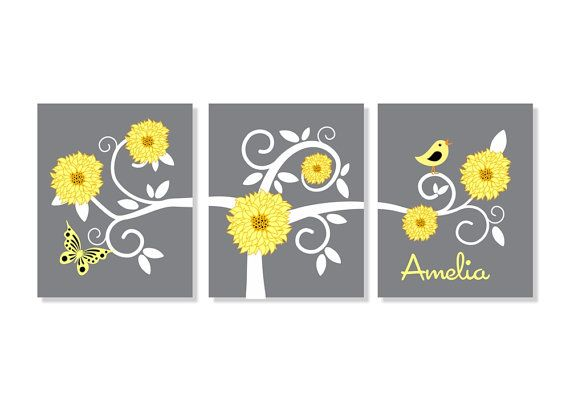 Kids Children Wall Art Baby Personalized Swirly Tree Print Nursery Canvas Flower Decor Kids Yellow Grey on Etsy, $37.95