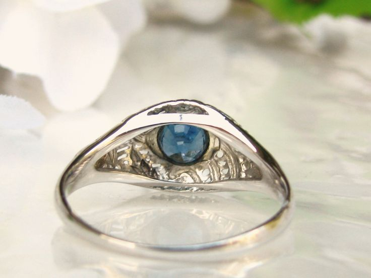 Antique Blue Topaz Engagement Ring 18K White Gold Filigree Antique Wedding Ring Alternative Engagement Vintage Bridal Jewelry Size 7!