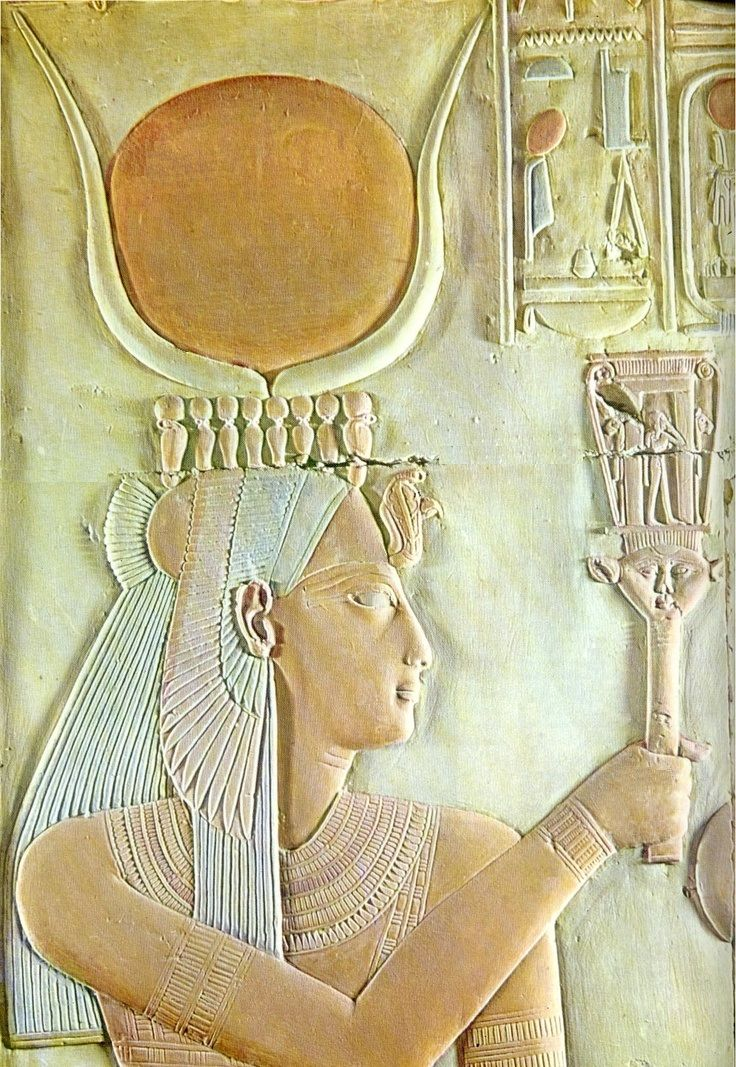 Isis with Sistrum - ancient Egyptian relief, Abydos Temple A