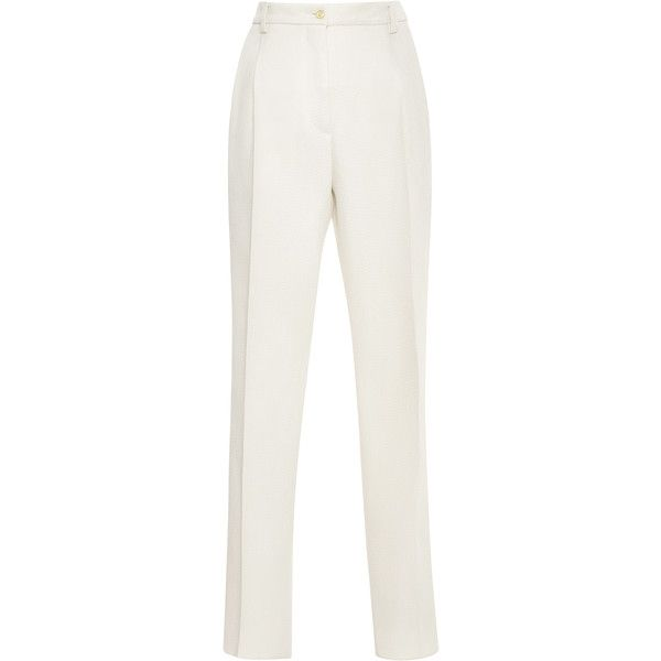 Rochas Silk-Blend Trousers ($580) ❤ liked on Polyvore featuring pants, trousers, sand, cigarette trousers, rochas, white trousers, white cigarette trousers and cigarette pants