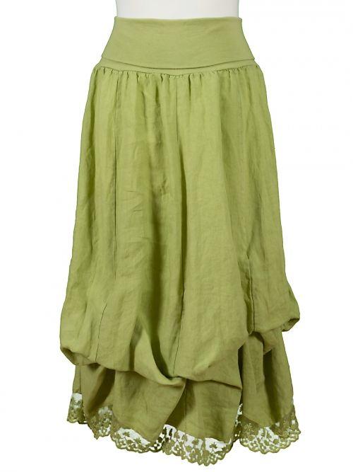 Damen Leinenrock mit Spitze, grün von Pronto Moda bei www.meinkleidchen.de