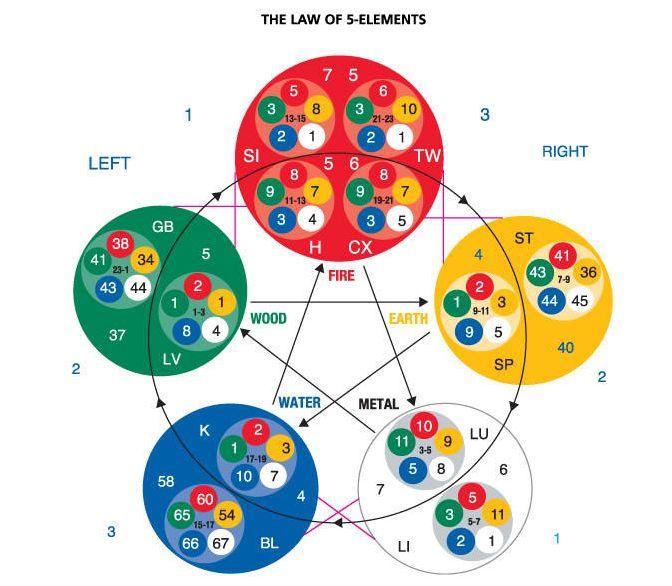 Segun la Medicina Tradicional China, los 5 elementos de la Naturaleza rigen los meridianos de energia en el cuerpo