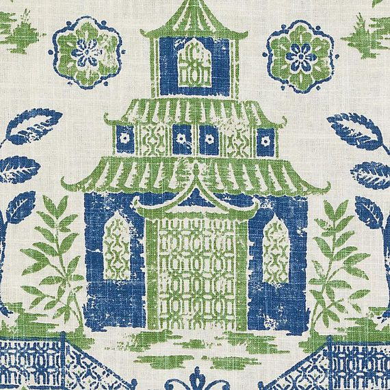 Blue Green Asian Toile Linen Upholstery Fabric - Modern Asian Print Curtain Fabric - Navy Blue Pagoda Fabric Pillow - Blue Lime Green Fabric