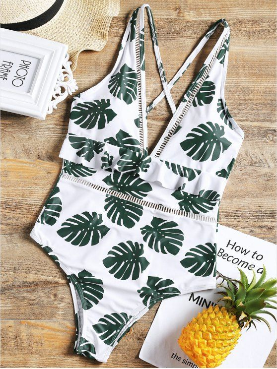 8460cfc29b2e1 One Piece Low Cut Palm Leaf Swimsuit