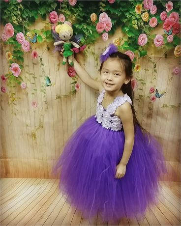 Purple Flower Girl Tutu Dress/Purple Flower Girl Dress/Purple Tutu Dress/Toddler Tutu Dress/Birthday Tutu Dress/Princess Tutu Dress/Long Tutu Dress   -- This full length tutu dress will be custom made to fit your precious baby girl. When she wears this dress she will become the beautiful flower girl at the wedding or even the cute princess at her birthday party. Whatever the occasion she wears this dress, be assured it will be full of wonderful memories.   The up...