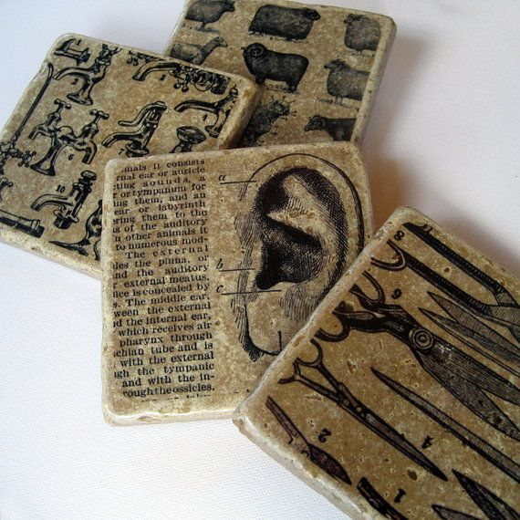 Vintage Encyclopedia - stone drink coaster set    I've already made these with photos of us kids.  It's time to do some with pages from books.