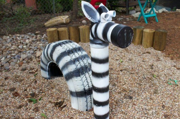 Spielgeräte Garten Sandkasten Hüpftiere Zebra selber machen