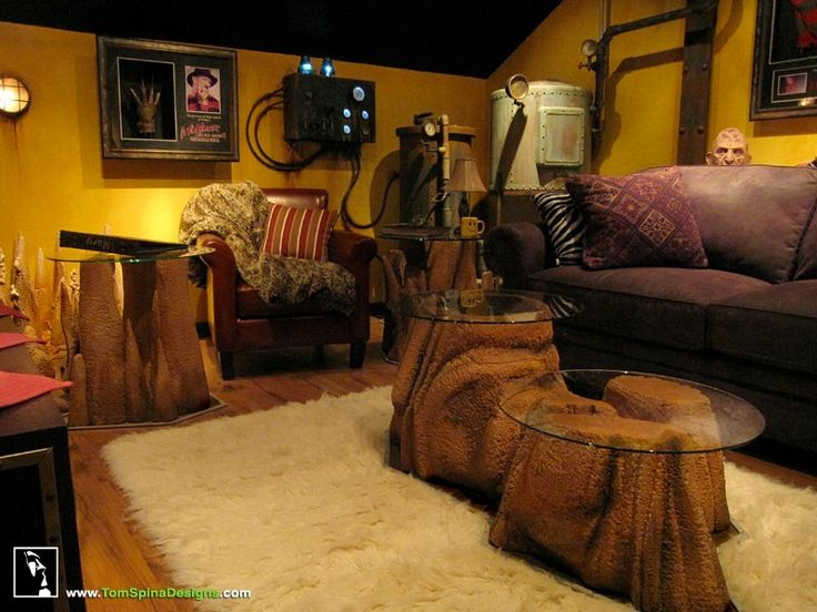 Movie Man Cave Ideas : Steampunk furnature cinema media room with hanging
