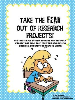 Just the thought of doing a research project is enough to send some students into a permanent state of shock, (and fill teachers with dread!). End the fear with this fun and easy method of organizing and writing research projects. Once I started using this method with my own students, they started doing one research project after another on their own! An original story shows, in a fun way, how the method works. $