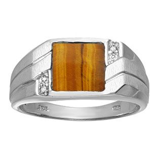 Men's Square Tiger's Eye Diamond Ring In Sterling Silver Gemologica.com offers a unique selection of mens gemstone and birthstone rings crafted in sterling silver and 10K, 14K and 18K yellow, white and rose gold. We have cool styles including wedding and engagement rings, fashion rings, designer rings, simple stone and promise rings. Our complete jewelry collection of gemstone rings for men can be seen here: www.gemologica.com/mens-gemstone-rings-c-28_46_64.html