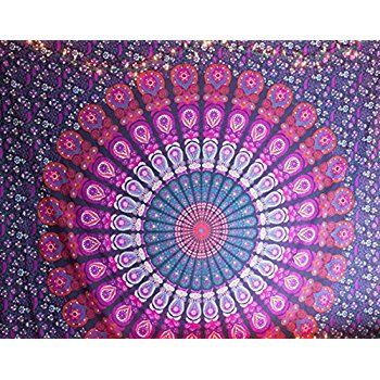 Amazon.com: Pink & Purple Mandala Tapestry Bohemian Peacock Tapestry Hippie Tapestry Wall Hanging Bohemian Bedspread Cotton Dorm Decor Beach Blanket psychedelic tapestry by Jaipur Handloom: Home & Kitchen