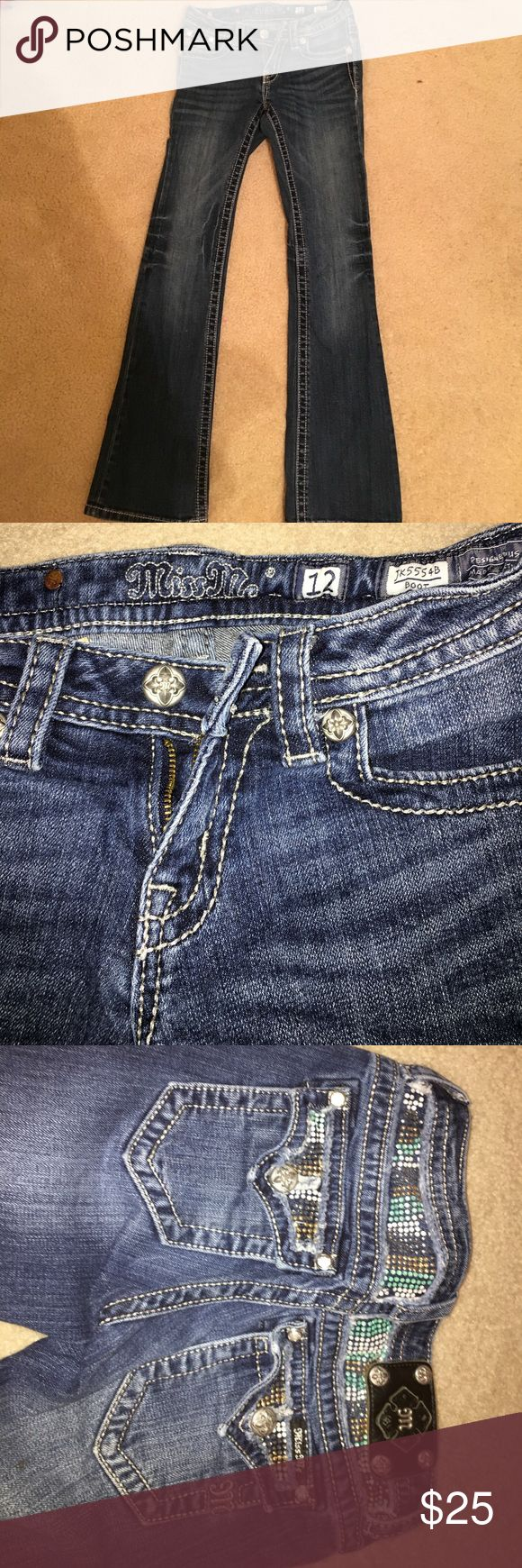 girls miss me jeans good condition, only a few jewels missing but not noticeable when on. super cute stretchy material Miss Me Bottoms Jeans