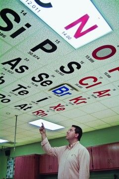 Periodic Table Ceiling Tiles: The letters are vinyl, cut by a local company, and are color-coded based on each element's state at standard temperature and pressure. Solid elements are in black lettering, liquids are in blue, and gases are in red.