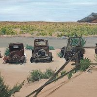 Old cars and Trucks  Oil on Canvas 16 X 20  Old cars and Trucks Parked at Goldfield Ghost Town, Apache Trail, Arizona,