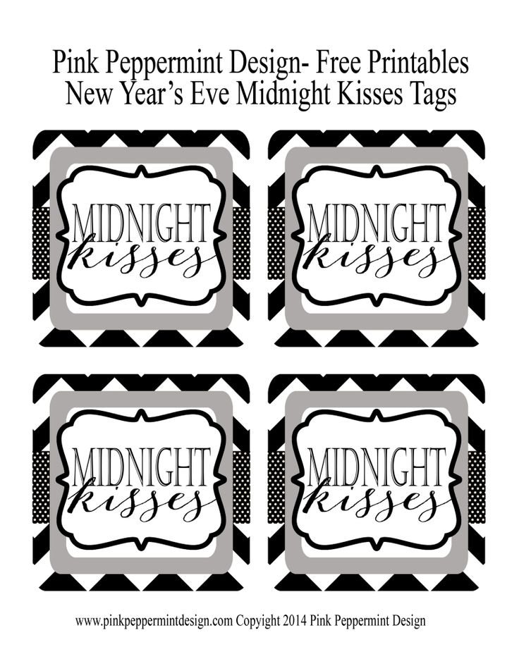 Free Printable Tags New Year's Eve Midnight Kisses