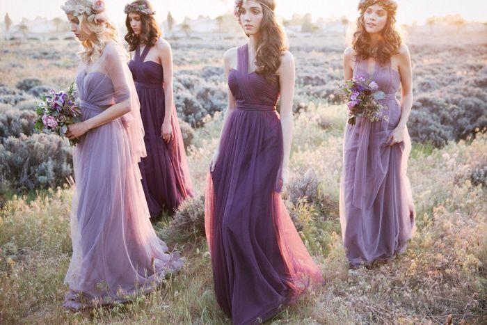 Шествие подружек невесты в сиреневом, Подружки невесты, Стиль гостей на свадьбу