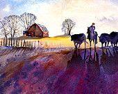 The Color of Winter- Cowboy Watercolor Art Print. Dirt Road. Country Art. Magenta. Purple. Colorful Watercolor. Horses. Barn. Farm House.