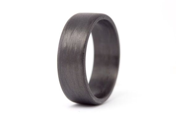 Men's carbon fiber flat ring. Unique black wedding band