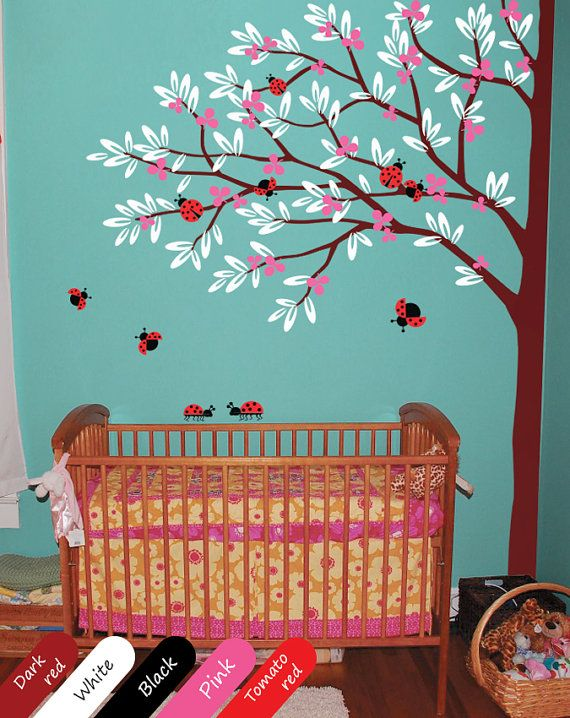 Corner Tree Decal With Ladybugs Nursery Tree Ladybirds Wall Mural Stickers  Nursery Baby Decals 004_2