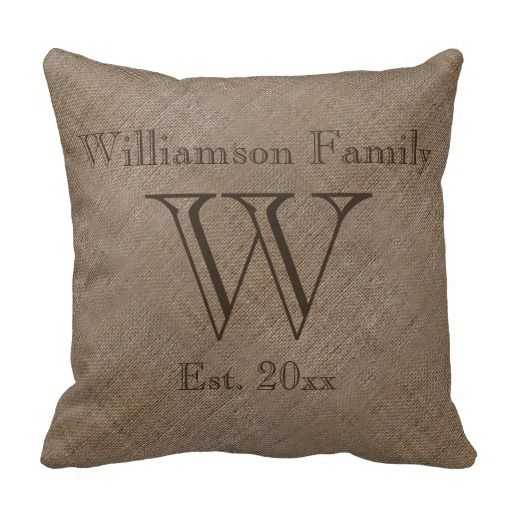 Custom Rustic Burlap-Look Family Keepsake Throw Pillow