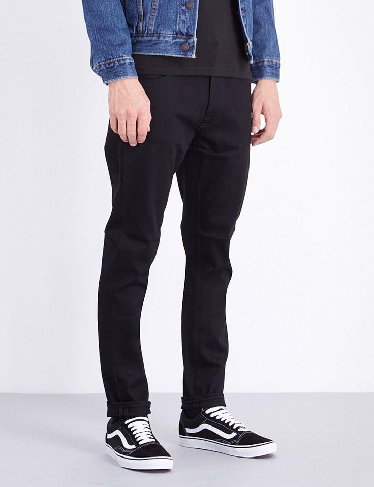 NUDIE JEANS Lean Dean slim-fit tapered jeans in washed black, not solid black