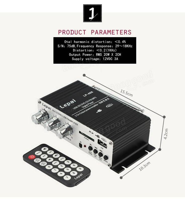 Mini reproductor de MP3 12V reproductor de audio estéreo de alta fidelidad amplificador de audio de bajo coche auto Motocycle USB FM SD w / remoto