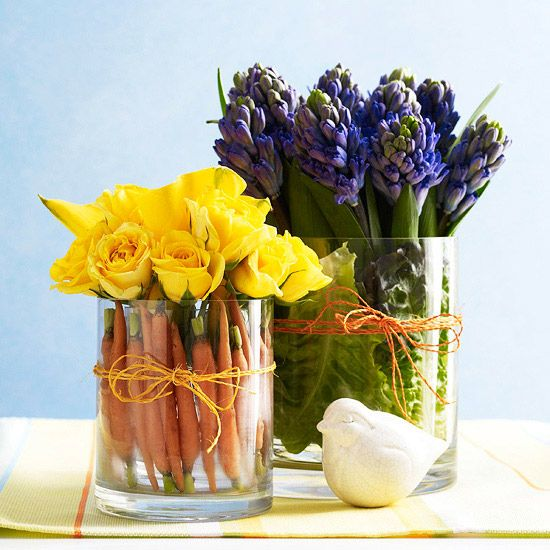 Arrangements such as these are fun and easy to create. Notice the different sized vases and the fun use of carrots and lettuce in the vase to hide the stems and add color & variety.: Spring Flowers, Decor Ideas, Easter Centerpieces, Flowers Arrangements, Tables Centerpieces, Easter Decor, Tables Arrangements, Flowers Decor, Tables Decor