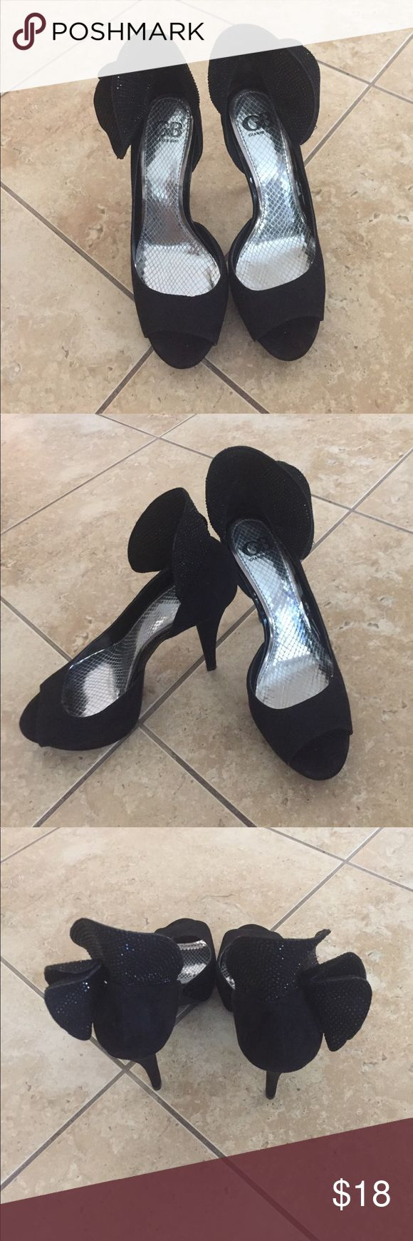 Black Open Toe Shoes Worn several times - still in good condition - the heel is about 5 inches Gianni Bini Shoes Heels