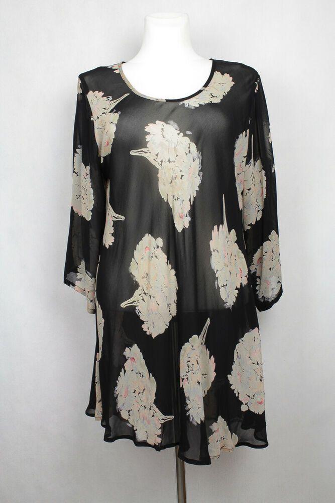Masai Kleid Dress Tunika Geblumt Blumen Bedruckt Sommer Durchsichtig Chiffon Xl Fashion Bell Sleeve Top Sleeve Top