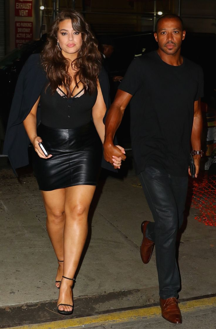 Ashley Graham Is a Bombshell in Black Leather on Date Night with Her Husband from InStyle.com
