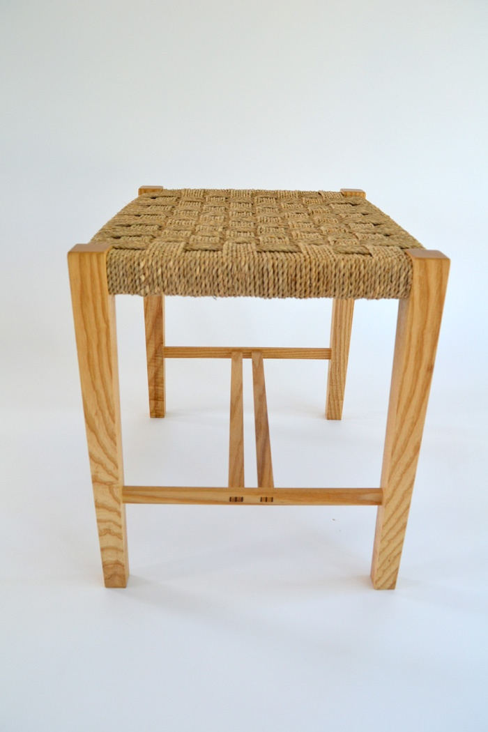 Sam James Designed Fine Furniture Maker and Designer.American Ash, Sea Grass stool. 500mm w x 400mm d x 460mm h