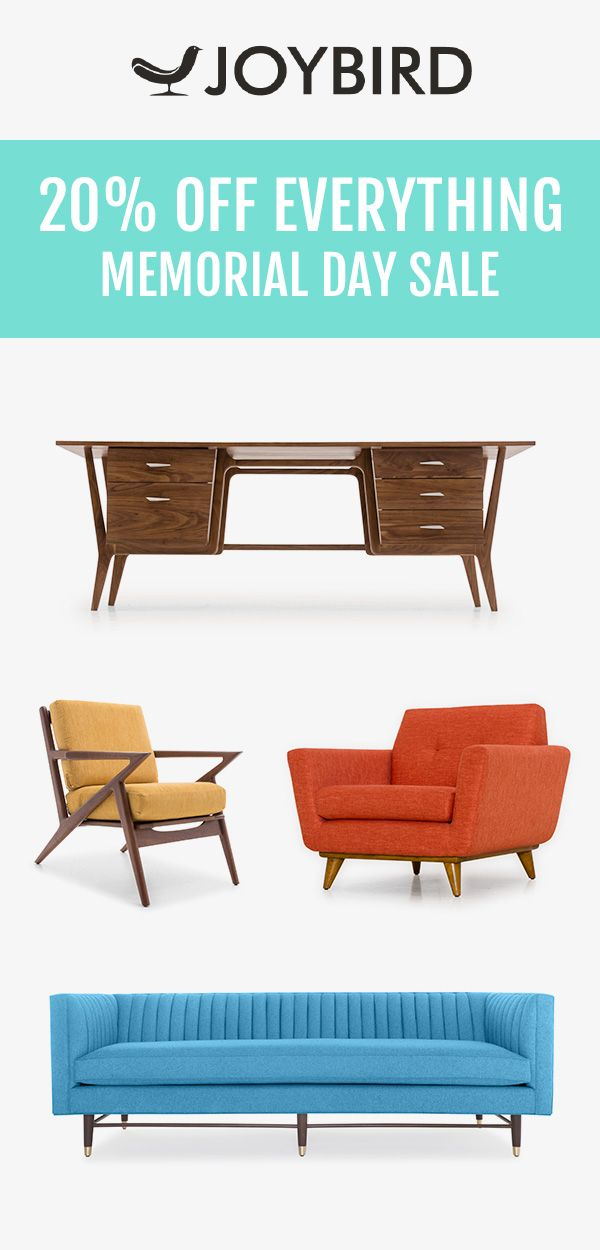 Joybird likes to do things a little differently. They believe that furniture should be custom made to fit you and your home. Save 20% on EVERYTHING right now during our Memorial Day Sale! All Joybird furniture comes with a 365-day home trial & lifetime warranty!