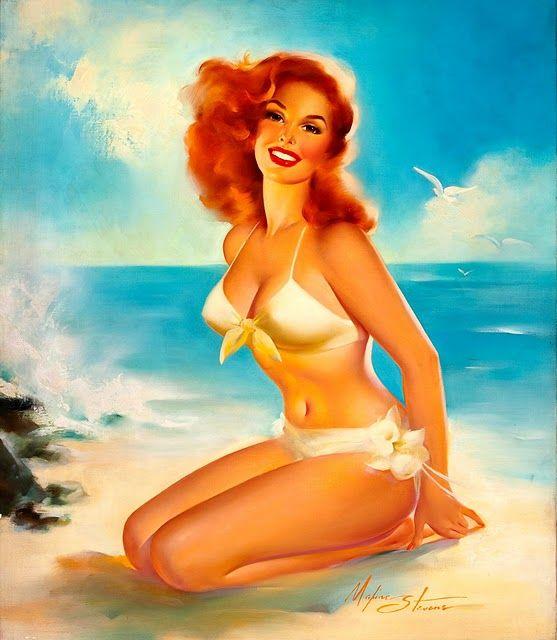 Vintage Pin Up Girl Illustration | Pin-Up Girls | Sugary.Sweet | #PinUp #Art #Vintage #Illustration
