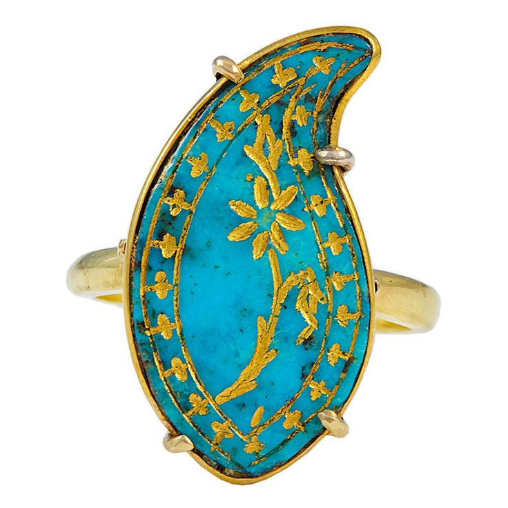 An Antique Persian Turquoise Boteh, later mounted as a Ring | 1stdibs.com