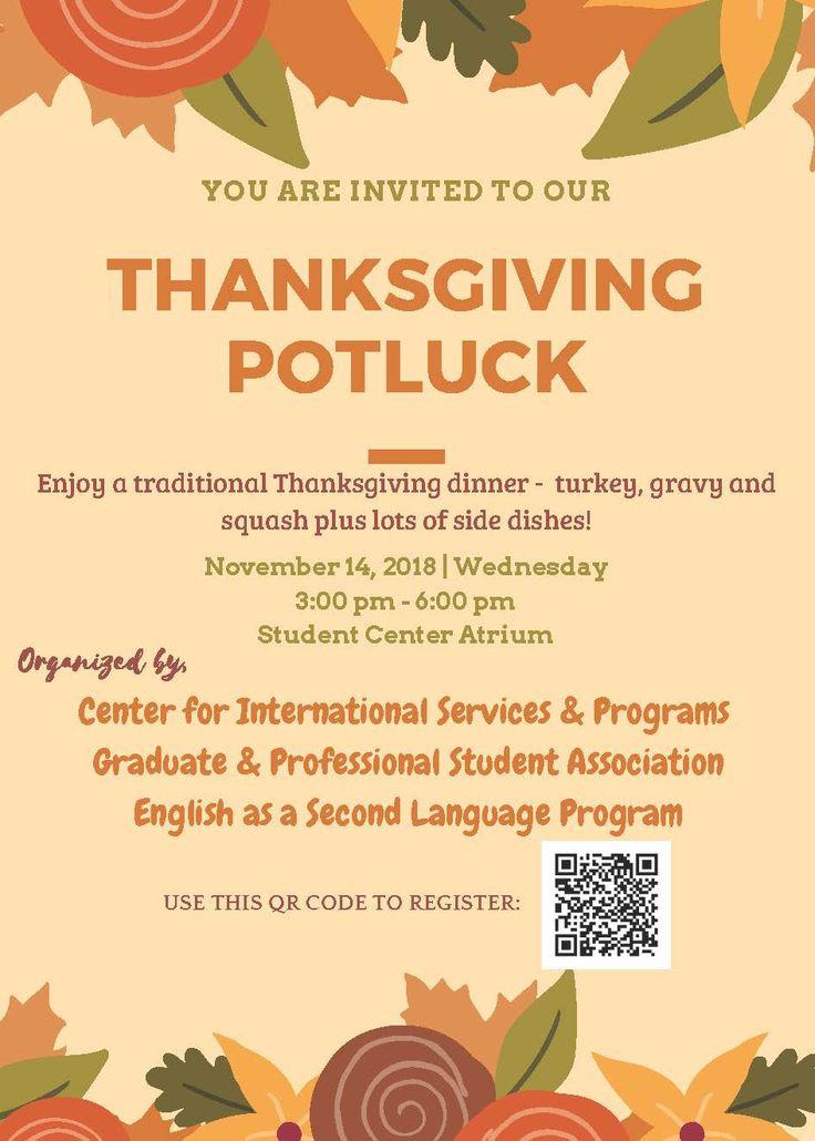 Company Thanksgiving Potluck Invitation Wording ...
