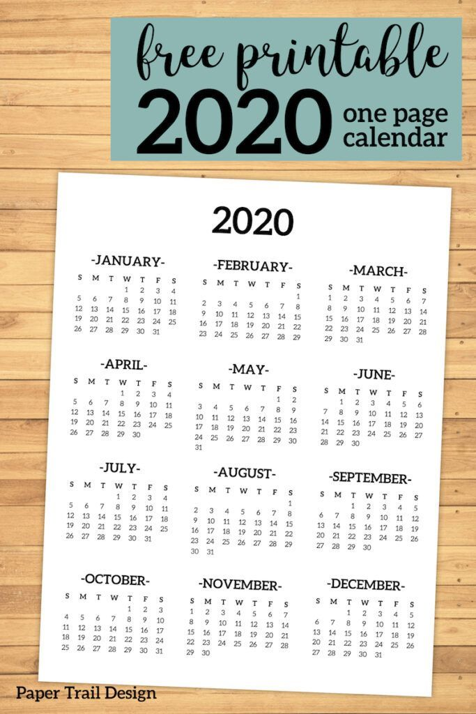 Calendar 2020 Printable One Page Planner Printables Free