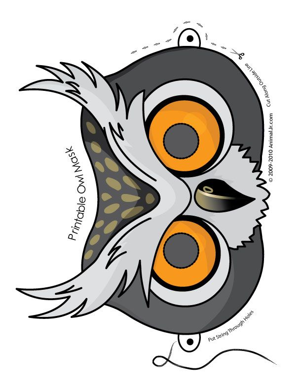 Printable Owl Mask---Use for a white bag puppet...they can draw on feathers,wings, and glue on feet