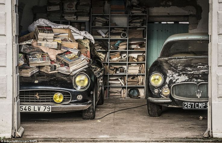 GREATEST BARN FIND OFF ALL TIME! The Ferrari (left), once sat in by Jane Fonda, was found under newspapers in an outbuilding on the French farm, alongside a Maserati A6G 200 Berlinetta Grand Sport Frua - one of only three in the world