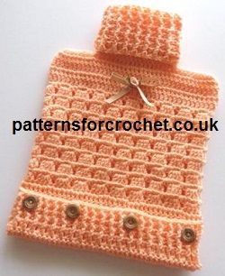 Free Crochet Pattern for hot water bottle cover http://www.patternsforcrochet.co.uk/bottle-cover-usa.html #crochet
