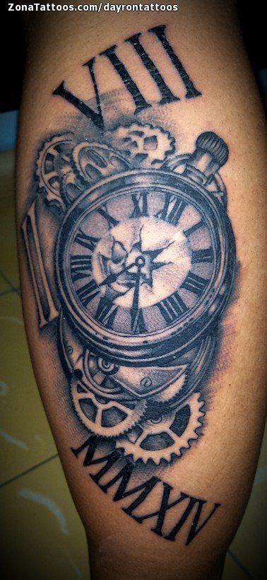 Tatuaje De Relojes Engranajes Numeros Romanos Collar Pinterest