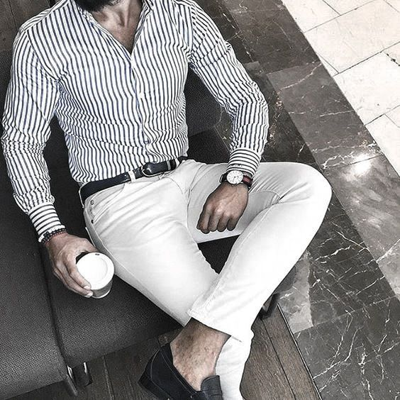 Male Style What To Wear With White Jeans Outfits Striped Dress Shirt