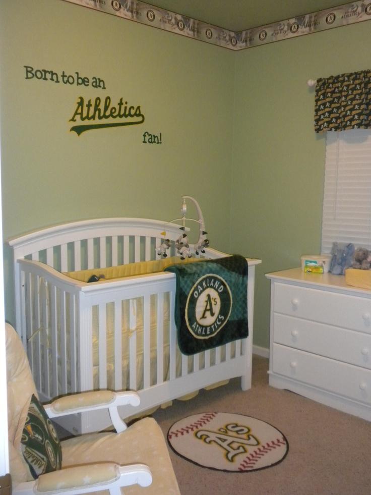 Oakland Athletics themed nursery. So adorable. !!!!!!!! daddy look!!!!!!