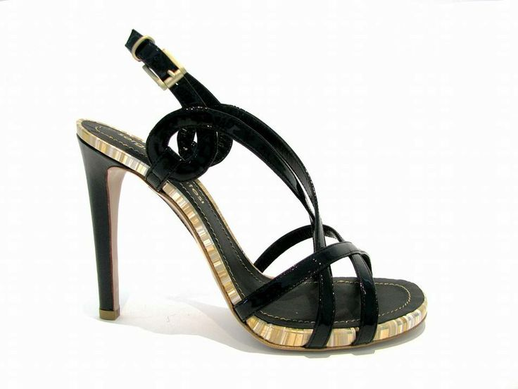 #Black gloss #sandal with details in #laminated stripes from sergio levantesi #spring #summer #collection 2014.
