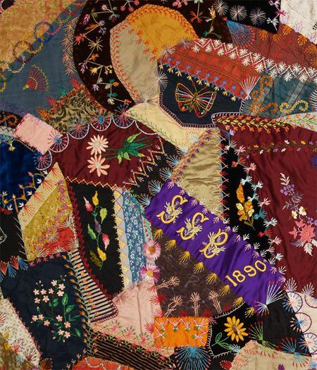 Q8875 Silk & Silk Velvet Victorian Crazy Quilt