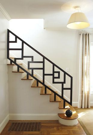 interior metal stair railing ideas for modern wooden staircase - Wall Railings Designs